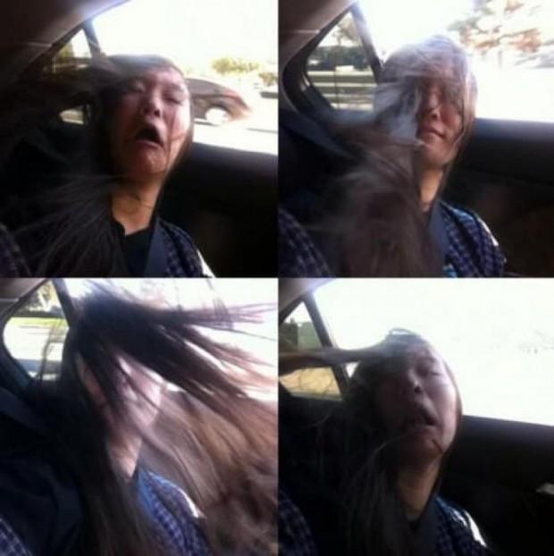 7. Araba camı açıkken saçlar..