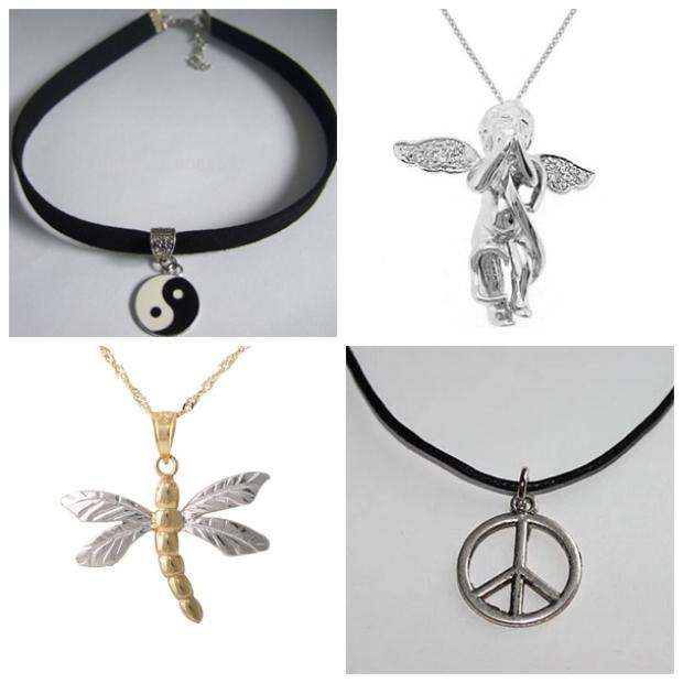 4. Ünlü kolye uçları: ''Ying Yang, Peace, Yusufçuk, Melek Kolye''
